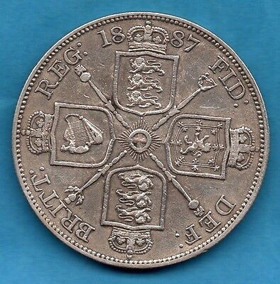 1887 Four Shillings Silver Coin, Victoria Jubilee Head Double Florin.