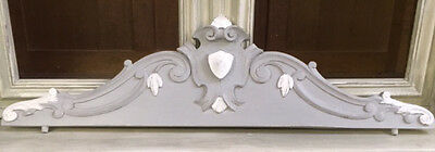 WONDERFUL CARVED WOODEN PAINTED CREST / PEDIMENT c.1900