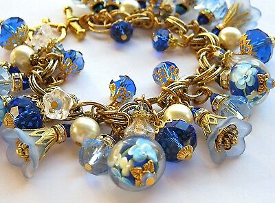Statement Lampwork Charm Bracelet Shades of Blue on Vintage Miriam Haskell Chain