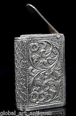 Rare Vintage Collectible Silver hand carved Book Shaped Tobacco/snuff Box.G10-67