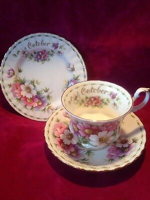 Royal Albert Bone China Flower Of The Month October Cosmos Trio