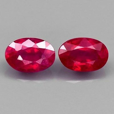 Pair 2pcs/1.53ct t.w 6x4mm Oval Natural Rich Red Ruby, Mozambique VIDEO#14