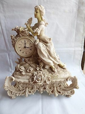 Art Deco italian Maiden Desk Mantle Clock Clay Marble Stone Resin Statue Vintage