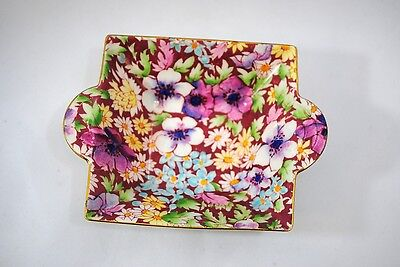 Vintage Royal Winton Chintz Burgundy Anemone Square Bowl or Candy Dish