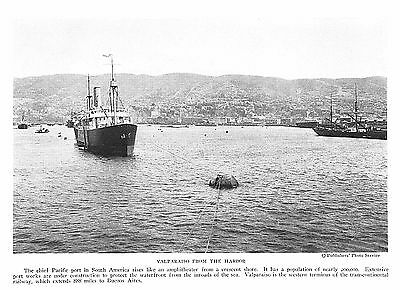 1922 VALPARAISO FROM THE HARBOR PACIFIC PORT~Photogravure Print