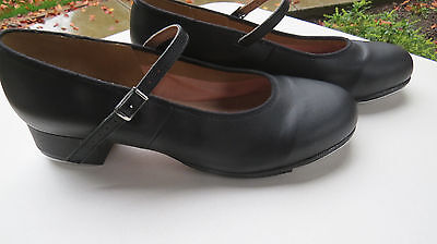 "Womens ""Bloch"" Black Leather Professional Black Leather Tap Shoes, Sz. 10 1/2"