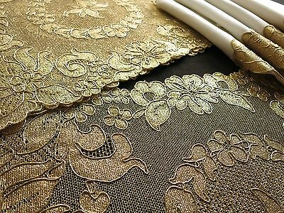 FESTIVE GOLD LACE France Antique FRENCH ALENCON LACE 8 pc PLACEMATS NAPKINS ~NWT