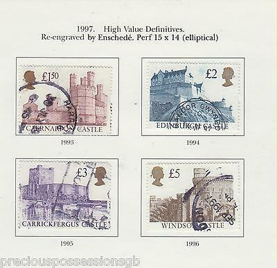 (W38-60) 1997 High Value Used Definitive £1.50 To £5. Sg 1993-1996