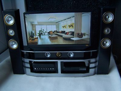Doll House, Tv Unit, Black, Tv, High Fi, Dvd, New