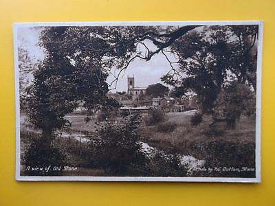 A View of Old STONE Staffordshire *Vintage* P C Dutton 1943 Church Houses River