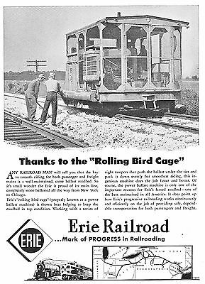 1949 Erie Railroad Train Rolling Bird Cage Men Working Tampers~Print Ad