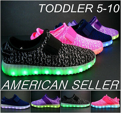 Toddler LED Light Up Sneakers Luminous Shoes size 5-10 USB Charger Belt Athletic