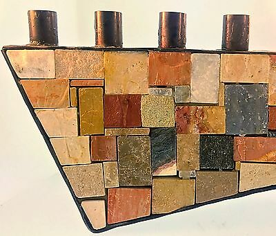Vintage Mosaic Natural Stone & Copper Menorah Eilon Israel Chanukah Jewish