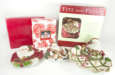 Fitz & Floyd Renaissance Santa Serving Bowl Tray Canape Plates Wenceslas in Box