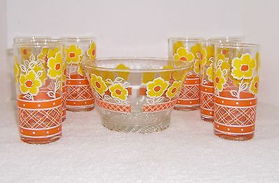 Vintage Mid Century Culver Peach Trellis Yellow Flower 8 Tumblers and Ice Bucket