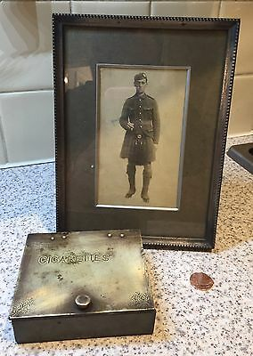 Vintage Military Trench Art Collectable Cigarette Box And Vintage Photograph Ww1