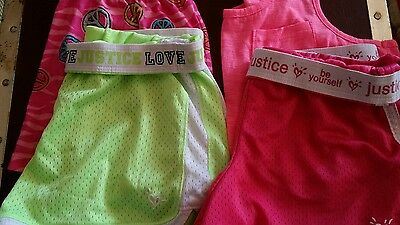 Justice girls size 12 lot of 4 shorts pink / green