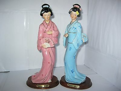 2 Japanese Geisha Ladies Figurines Porcelain china 99p Start
