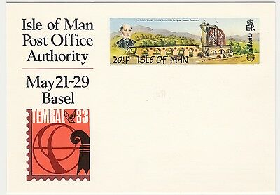 Postal card, Isle of Man, 1983, Laxey Wheel, TIMBAL exhibition, Basel