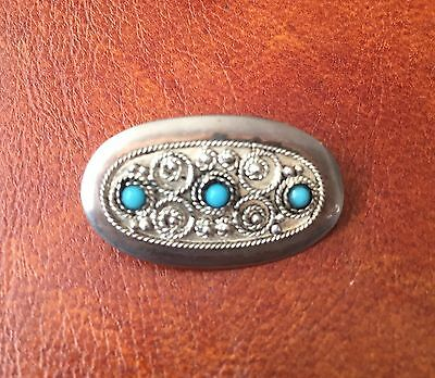 925 Silver Oval Brooch With Turquoise Stones . Made In Jerusalem Israel.