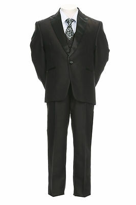 Boys Toddler Kid Teen 5pc Formal Premium Tuxedo Dress Suit w/ Vest sz 2-20 BLACK