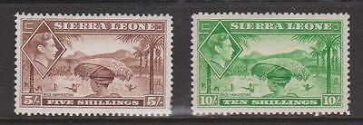 SIERRA LEONE 1938 5s AND 10s VALUES MOUNTED MINT