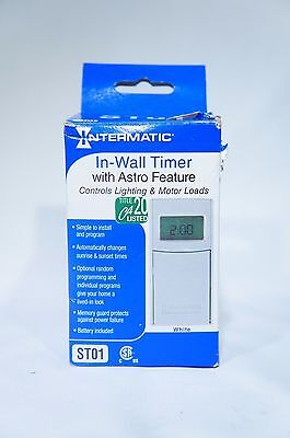 Intermatic ST01 EXCELLENT W/O SCREWS Self Adjusting Wall Switch Timer, White