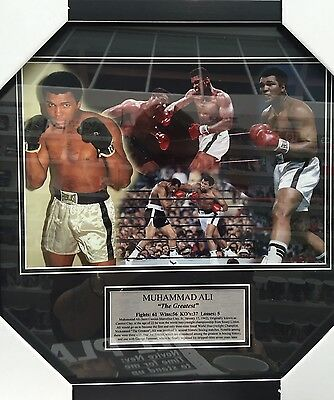 Muhammad Ali - Boxing Photo Montage In Frame With Plaque Bnwt