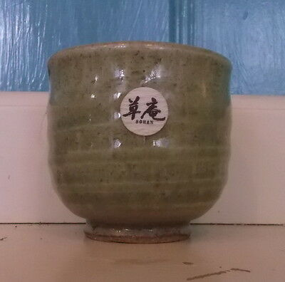 Japanese celadon stoneware new sohan ceremonial cup