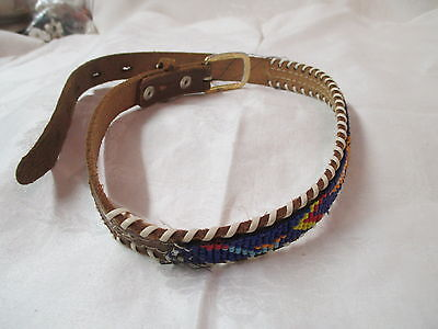 Vintage beaded leather boy's Belt