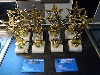 Joblot Of 8 - Gold - Dance - Trophies - Free Engraved Plates