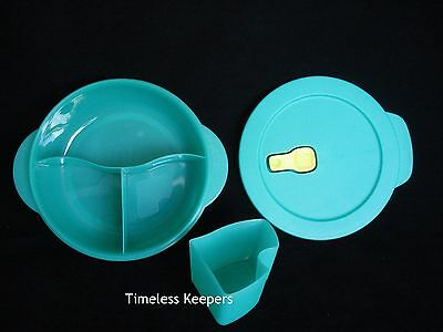 FREE SHIP Tupperware Divided LUNCH Dish & COLD CUP CrystalWave vent NEW Laguna