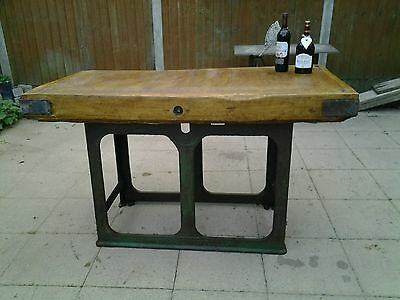 Large vintage butchers block on  industrial cast iron stand