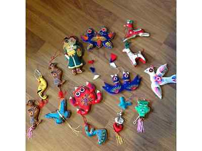 Lot Of 14 Vintage Stuffed Embroidered Christmas Ornaments - Birds, Frog, Butterf