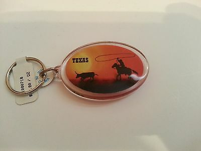 Texas Keychain Sunset with Rider Roping a Longhorn Oval