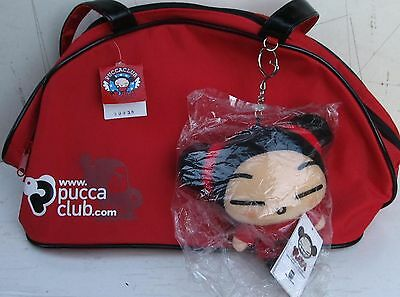 PUCCA CLUB FUNNY LOVE KITTY CAT BAG & 13cm KEY RING  – new