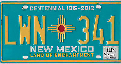 Wow 2012 Natural Authentic New Mexico Usa Centennial License Plate # Lwn 341