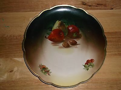 Vintage China/porcelain  Plate (Mz Made In Austria) Pears & Nuts Scalloped Edge