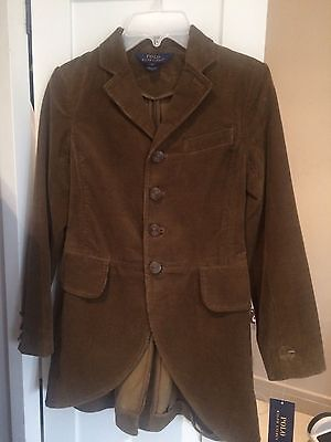 GIRLS RALPH LAUREN NEEDLE CORD COAT RIDING/hunting Style  TULLA BROWN Age 8