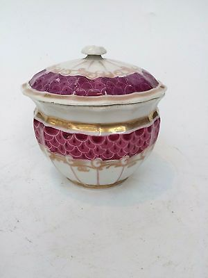 Antique Porcelain Pink Gilt Sugar Bowl with Lid Russian ?