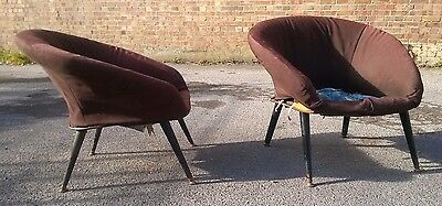 Vintage Retro ArmChairs Matching Pair 20th Century