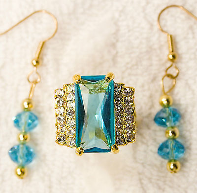 jewelry set aquagreen crystal replica ring size 7 earrings gold tone pierced