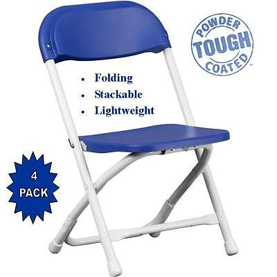 4 Kids Plastic Folding Chairs Blue Great for Dinner and Play Room FREE SHIPPING