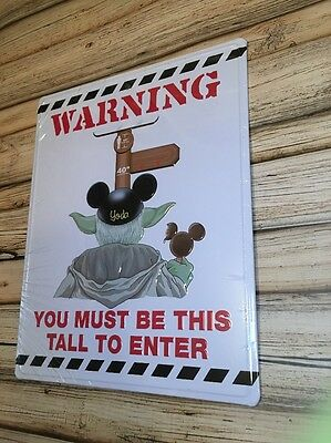 """Star Wars Disney Parks """"Warning You Must Be This Tall To Enter"""" Yoda Metal Sign"""