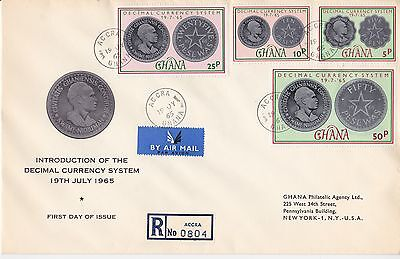 First day cover, Ghana, Scott #212-215, New currency, 1965