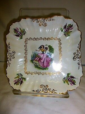 """Vintage Old Foley James Kent """"dainty Miss"""" Square Dish Gold Accents"""