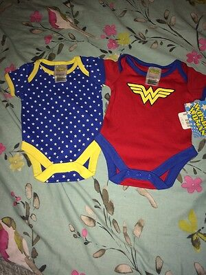 Baby Girls Bnwt Wonder Woman Vests Up To 1m Mother Care
