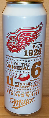 24 oz Miller Lite Beer Can 2016 Limited Edition Detroit Red Wings