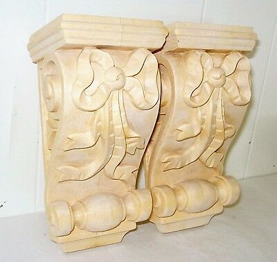 Vintage 2 Ribbons Solid Wood Corbel Sculpture Beautiful  Pattern Nr