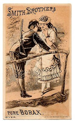 Smith Brothers Pure Borax Victorian Advertising Trade Card Soldier Kissing Lady